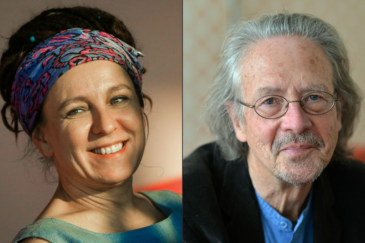The headshots of Polish author Olga Tokarczuk and Austrian novelist and playwright Peter Handke placed side by side.