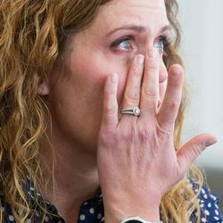 Heidi Wallis becomes emotional as she talks about why she and her husband, Trey, are fighting to have GAMT screening placed on the national newborn screening list during an interview in their Bluffdale home on Wednesday, Nov. 2, 2016. Two of their children — Louie and Sam — have the rare disease guanidinoacetate methyltransferase (GAMT) deficiency.