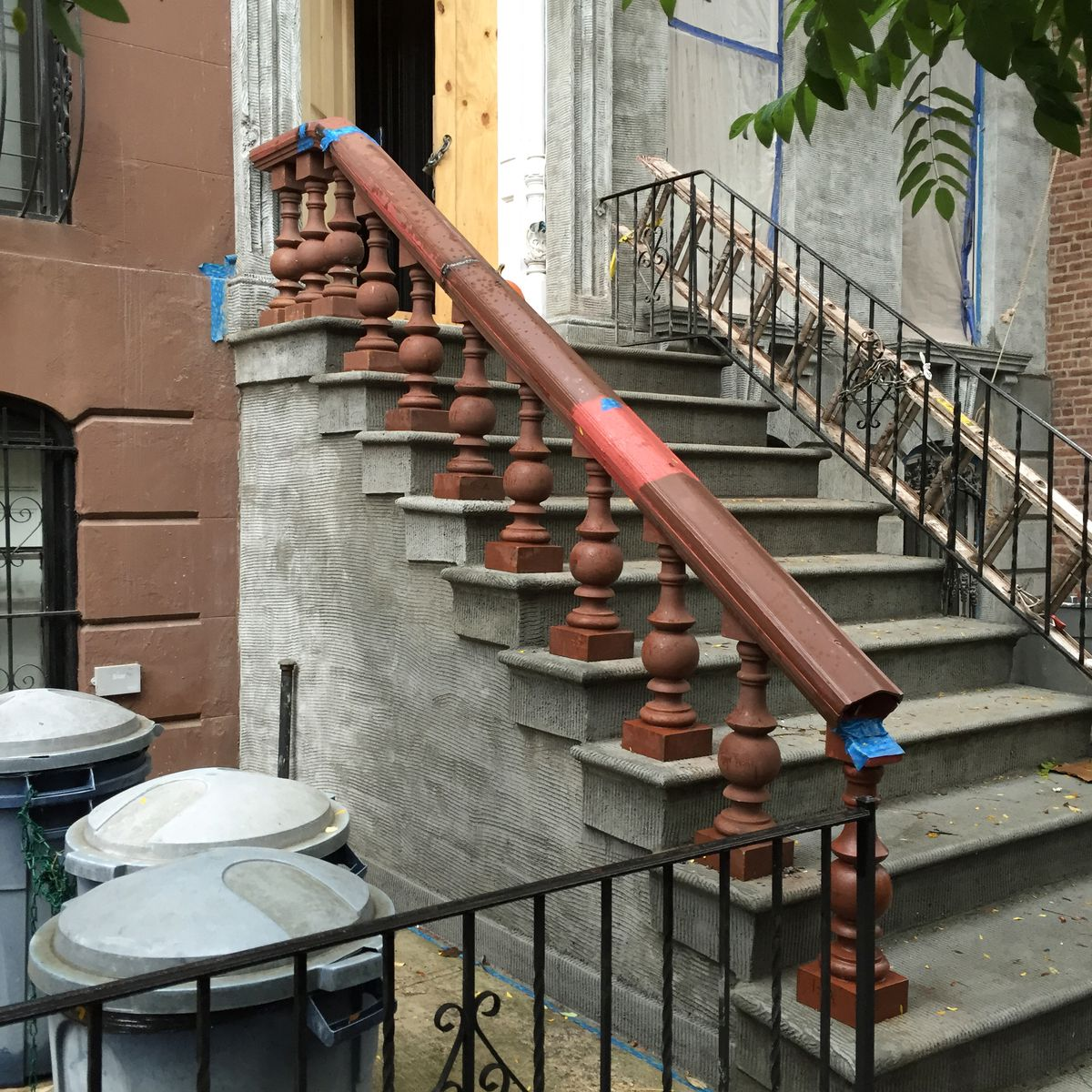 The balusters for the stoop stair were fabricated in China.