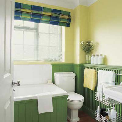 Pairing yellow and green paint on a bathroom wall.