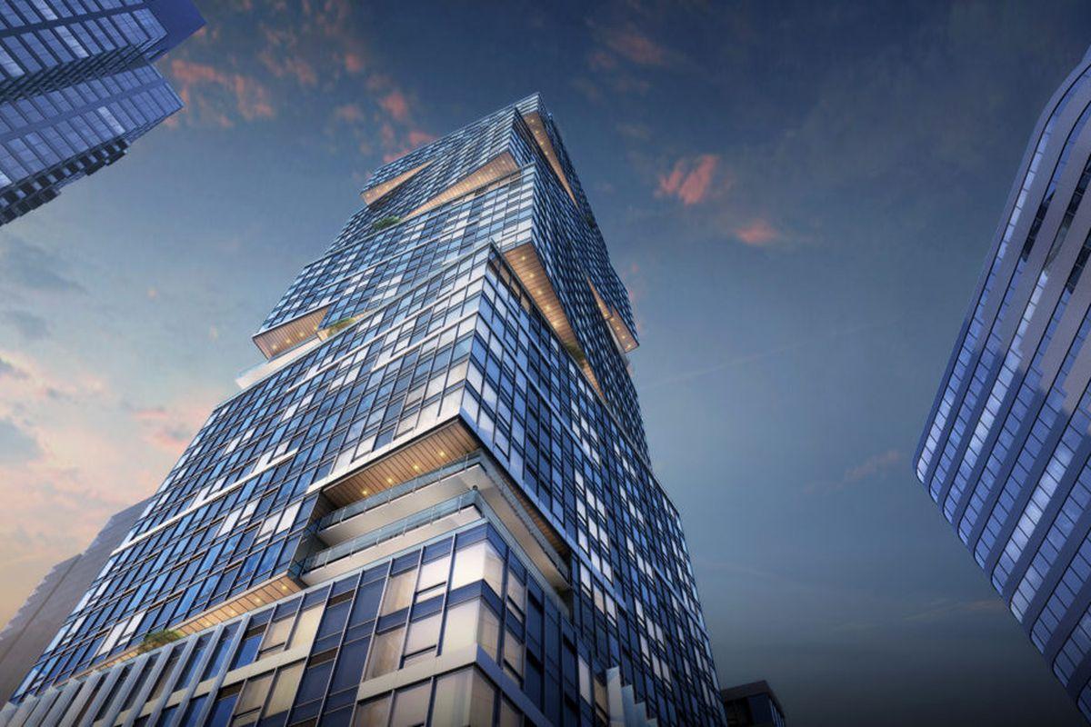 A boxy, glass high-rise