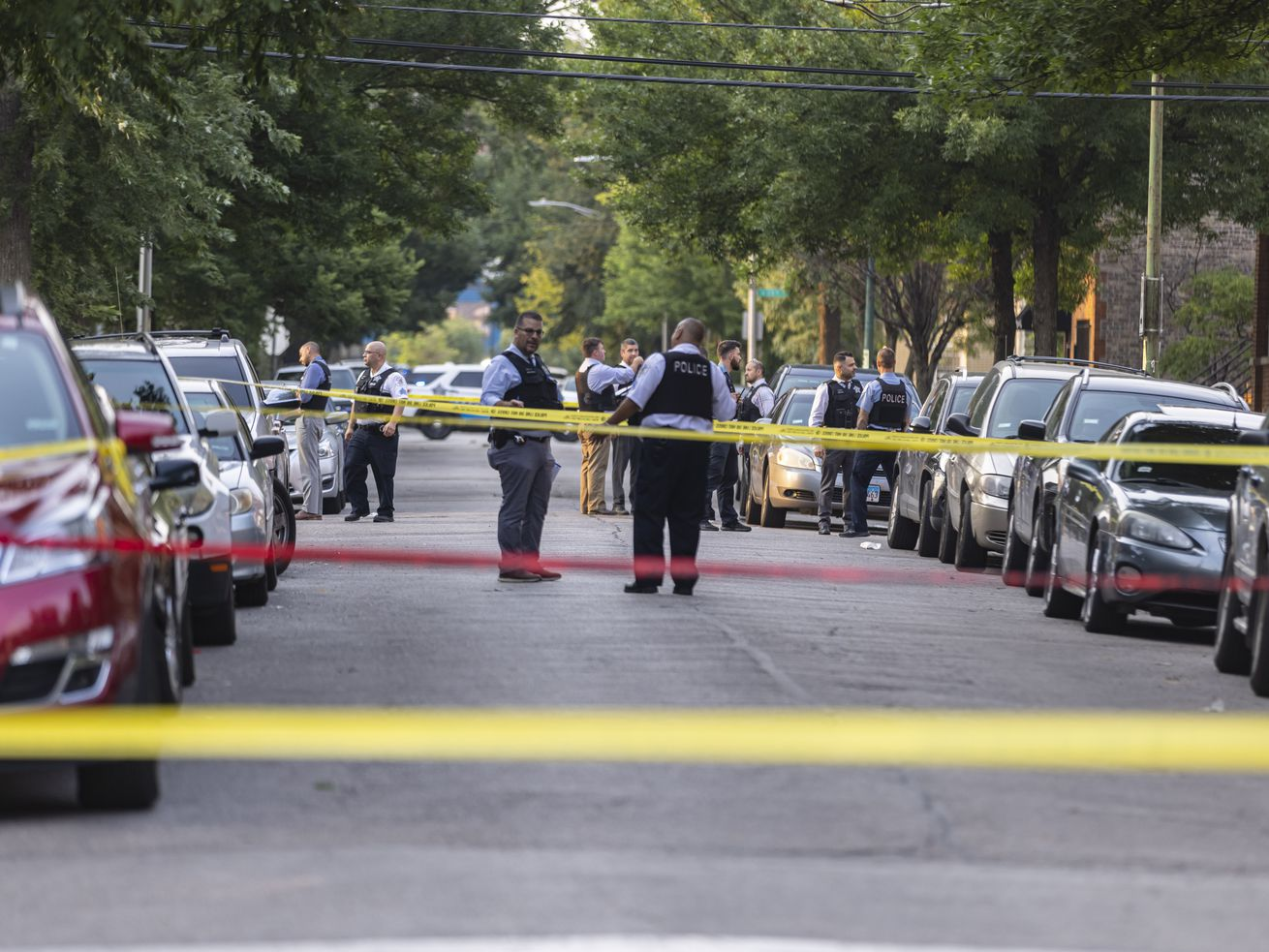 Police investigate the scene near 1324 S Christiana Ave in Lawndale, Wednesday, July 21, 2021. | Anthony Vazquez/Sun-Times
