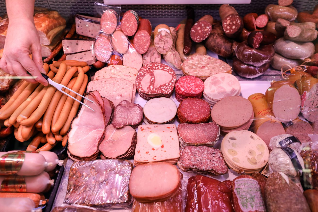 Meat counter in the supermarket