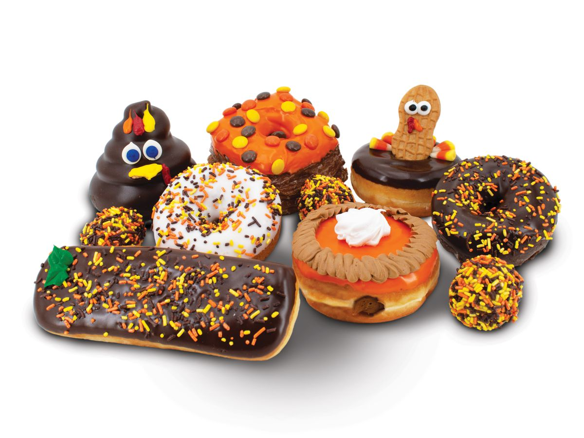 A group of doughnuts with a Thanksgiving theme