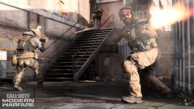 A character fires an assault rifle in a screenshot from Call of Duty: Modern Warfare.