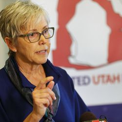 Jan Garbett joins a citizens' group in announcing the formation of the United Utah Party — a new political party in Utah that aims to appeal to moderate Republicans, Democrats and independents who are dissatisfied with the current two-party system — during a press conference at the Capitol in Salt Lake City on Monday, May 22, 2017.