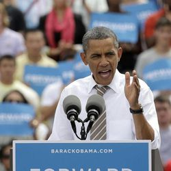 President Barack Obama speaks during a campaign stop at the Living History Farms Saturday, Sept. 1, 2012, in Des Moines, Iowa.