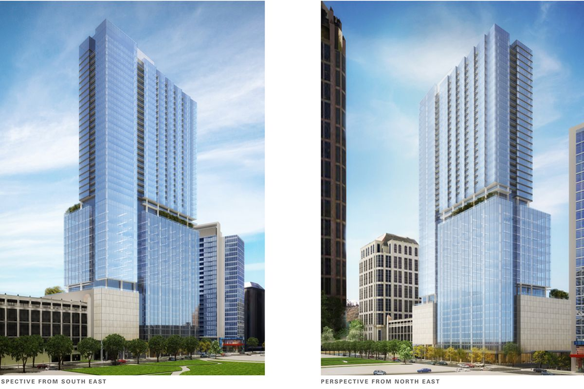 A rendering of the mixed-use tower project proposed for West Peachtree Street.