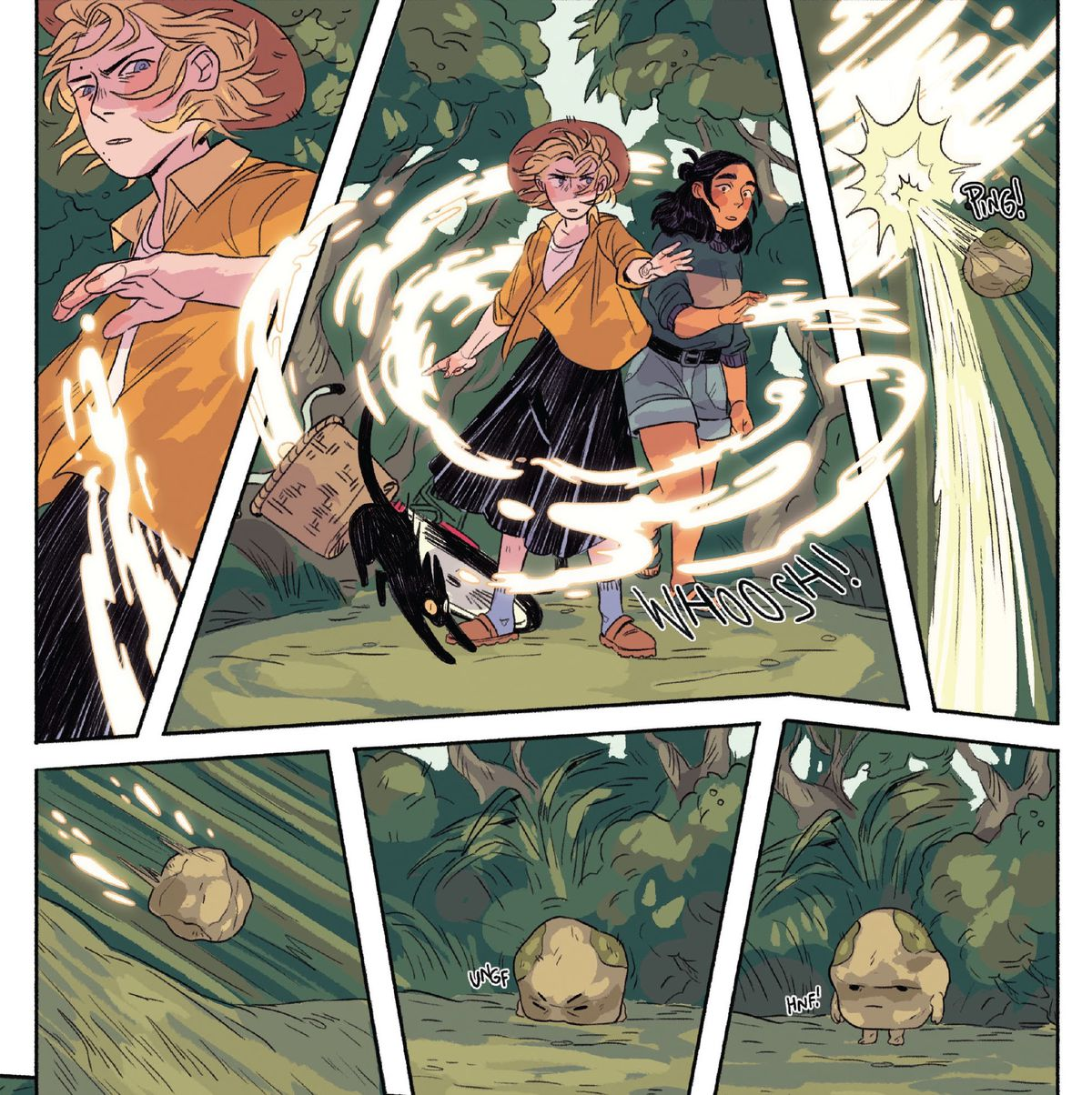 Magic swirls around two teenagers defending themselves against a rocky projectile.  The palm-sized stone hits the ground and stands on two tiny feet with a tiny grunt, revealing a grumpy little face in Mamo # 2 (2021).
