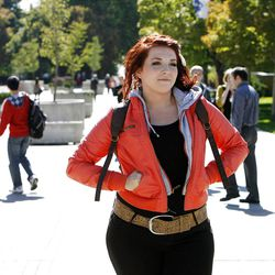 Alana  Smith walks on campus at Brigham Young University in Provo, Monday, Oct. 8, 2012.