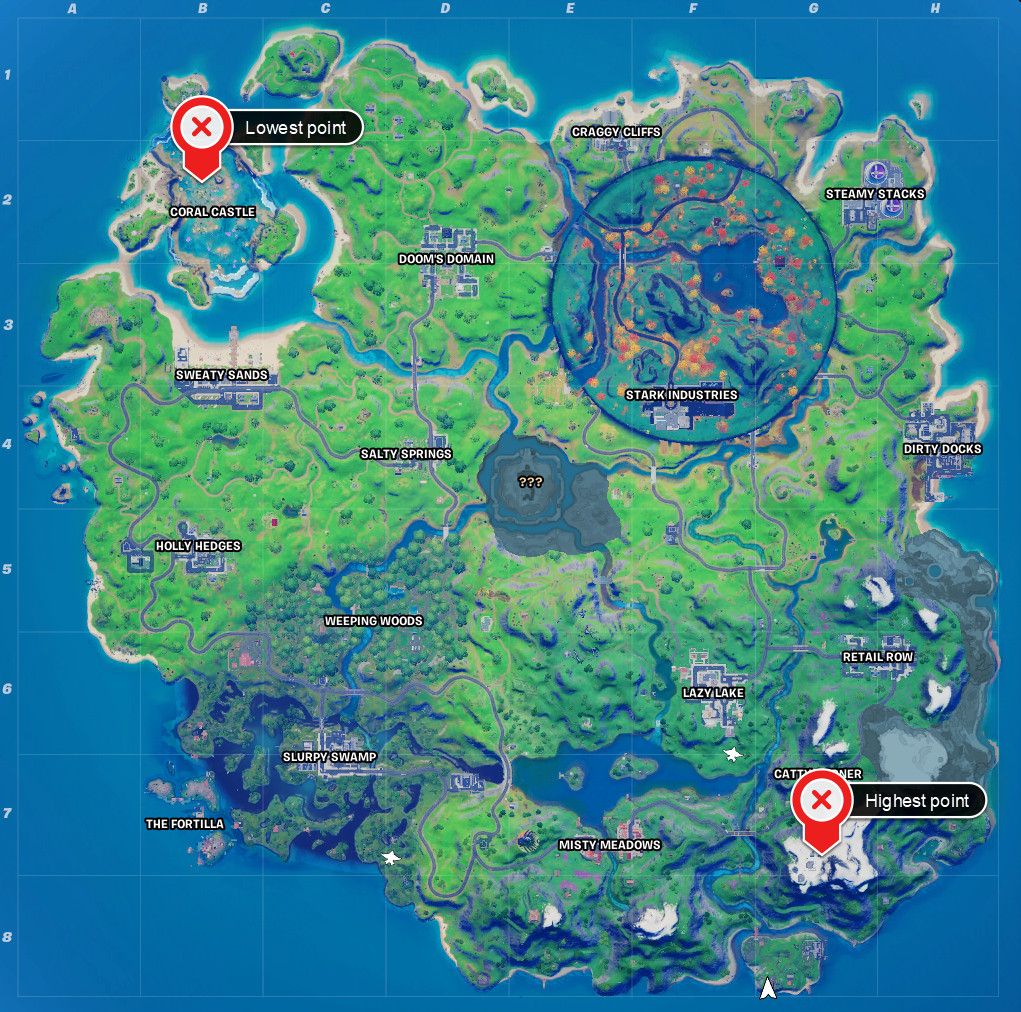 The locations of the highest and lowest point on the Fortnite map