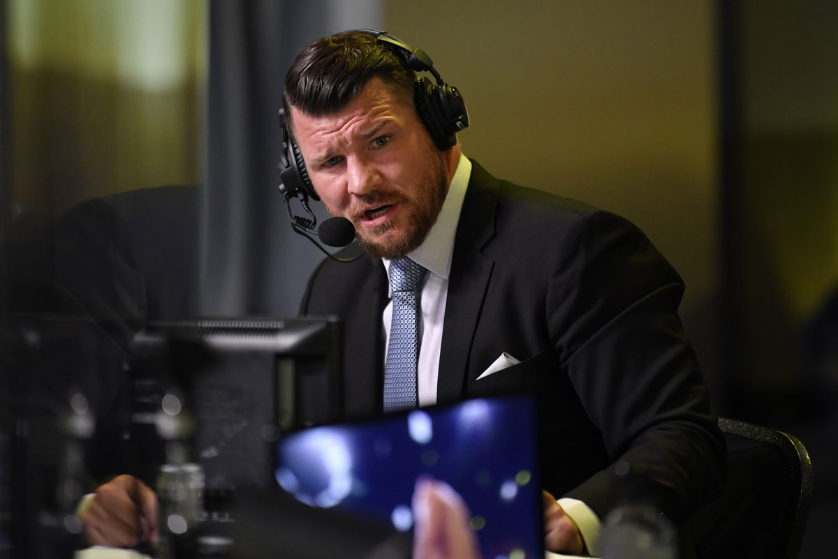 Michael Bisping during broadcast duties at a UFC Fight Night.