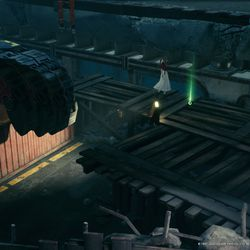 Heed the warning and drop Aerith off on the container to pick up the Materia