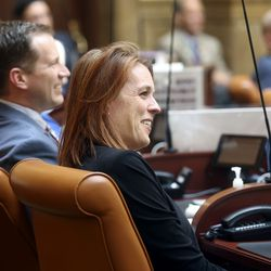Rep. Jen Dailey-Provost, D-Salt Lake City, laughs during a special session of the Legislature at the Capitol in Salt Lake City on Wednesday, May 19, 2021.