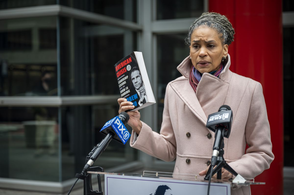 Maya Wiley holds a press conference outside of the Office of the Governor of the State of New York in Midtown to disparage Governor Andrew Cuomo's alleged misuse of government resources to write a memoir.