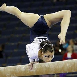 Penn State's Sharaya Musser competes on the balance beam during the NCAA college women's individual gymnastics championships, Sunday, April 22, 2012, in Duluth, Ga.