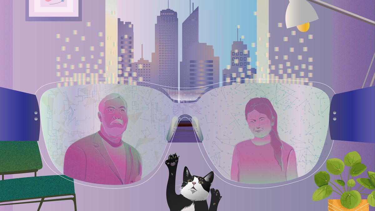 An illustration showing a pair of futuristic smart glasses with a cat in the foreground and a cityscape visible through a window.