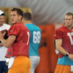 Jul 26, 2013; Davie, FL, USA; Miami Dolphins quarterback Pat Devlin (7) throws a pass during training camp at the Doctors Hospital Training Facility at Nova Southeastern University.