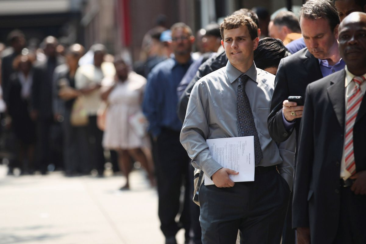 People in line for a job fair.