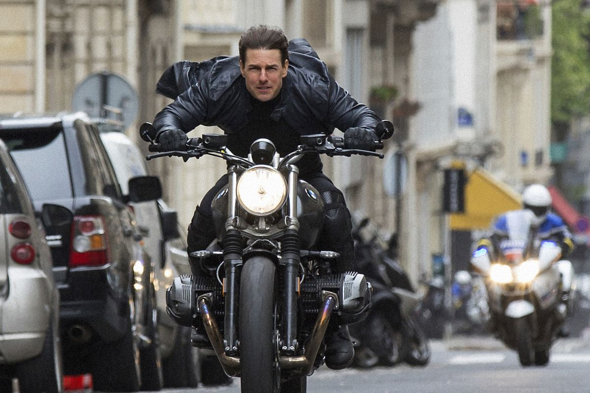 """This image released by Paramount Pictures shows Tom Cruise in a scene from """"Mission: Impossible - Fallout,"""" the sixth film in the Mission Impossible franchise."""