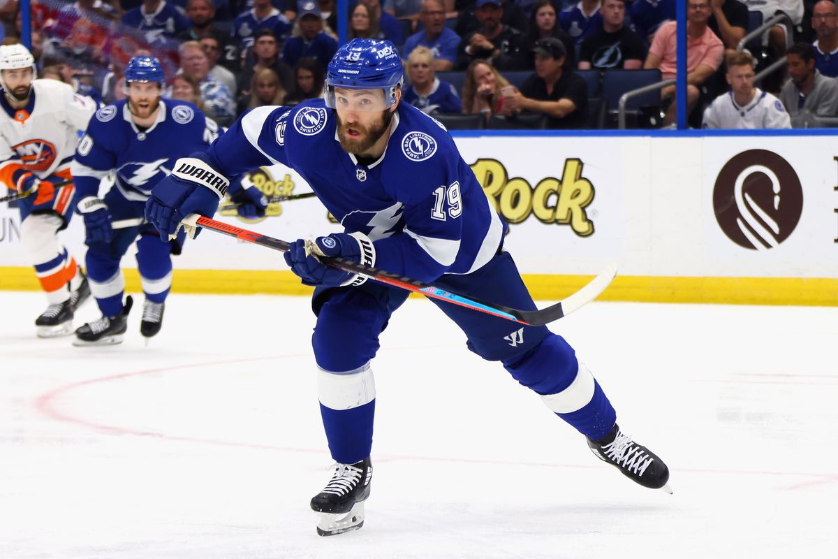 Barclay Goodrow #19 of the Tampa Bay Lightning skates against the New York Islanders in Game One of the Stanley Cup Semifinals during the 2021 Stanley Cup Playoffs at the Amalie Arena on June 13, 2021 in Tampa, Florida. The Islanders defeated the Lightning 2-1.