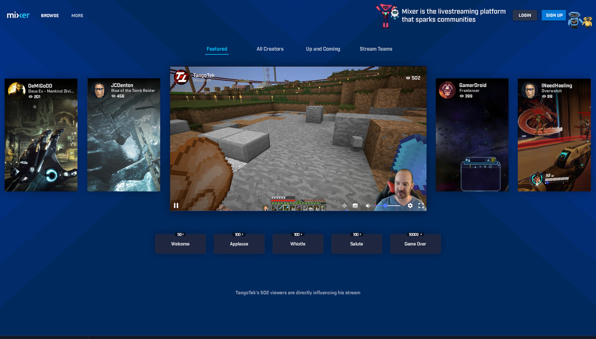 Mixer - homescreen on PC