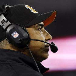 Cincinnati Bengals head coach Marvin Lewis watches the first half of an NFL football game against the Baltimore Ravens in Baltimore, Monday, Sept. 10, 2012.