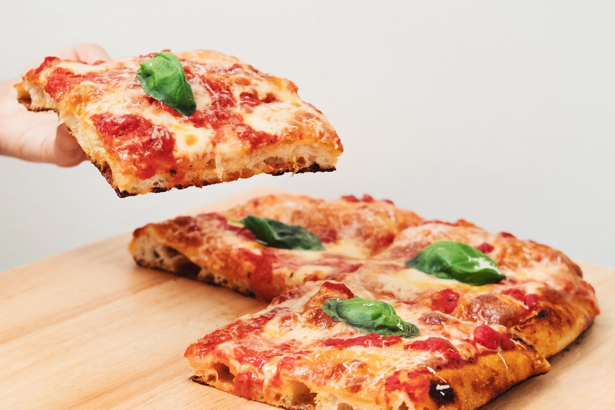 Pizza Doughnais uses a natural yeast to make an East-Coast-meets-West Coast thick-slab pizza