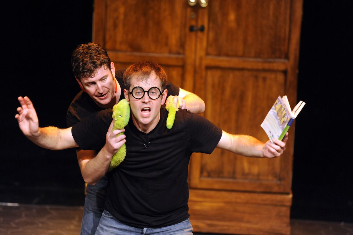 """Daniel Clarkson and Jefferson Turner in""""Potted Potter — The Unauthorized Harry Potter Experience."""""""