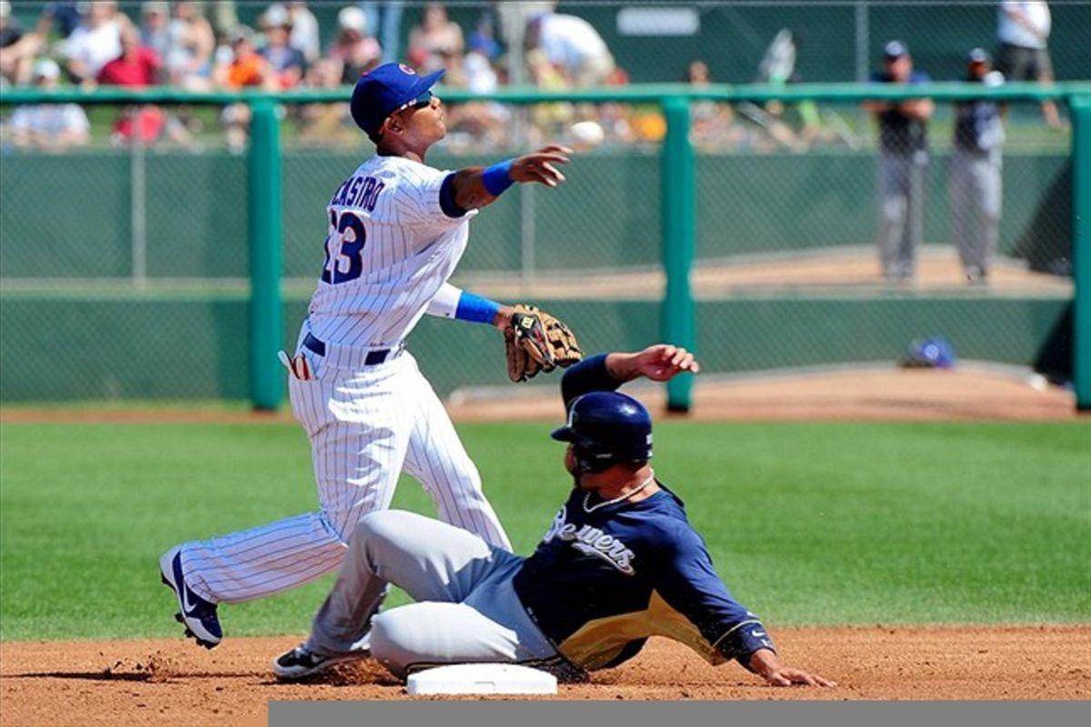 Mesa, AZ, USA; Milwaukee Brewers shortstop Alex Gonzalez is forced out at second base by Chicago Cubs shortstop Starlin Castro at HoHoKam Park. Credit: Matt Kartozian-US PRESSWIRE