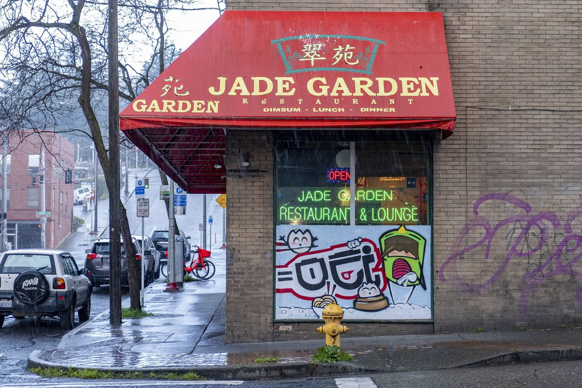 A side view of Jade Garden, with a painted mural showing cartoon characters