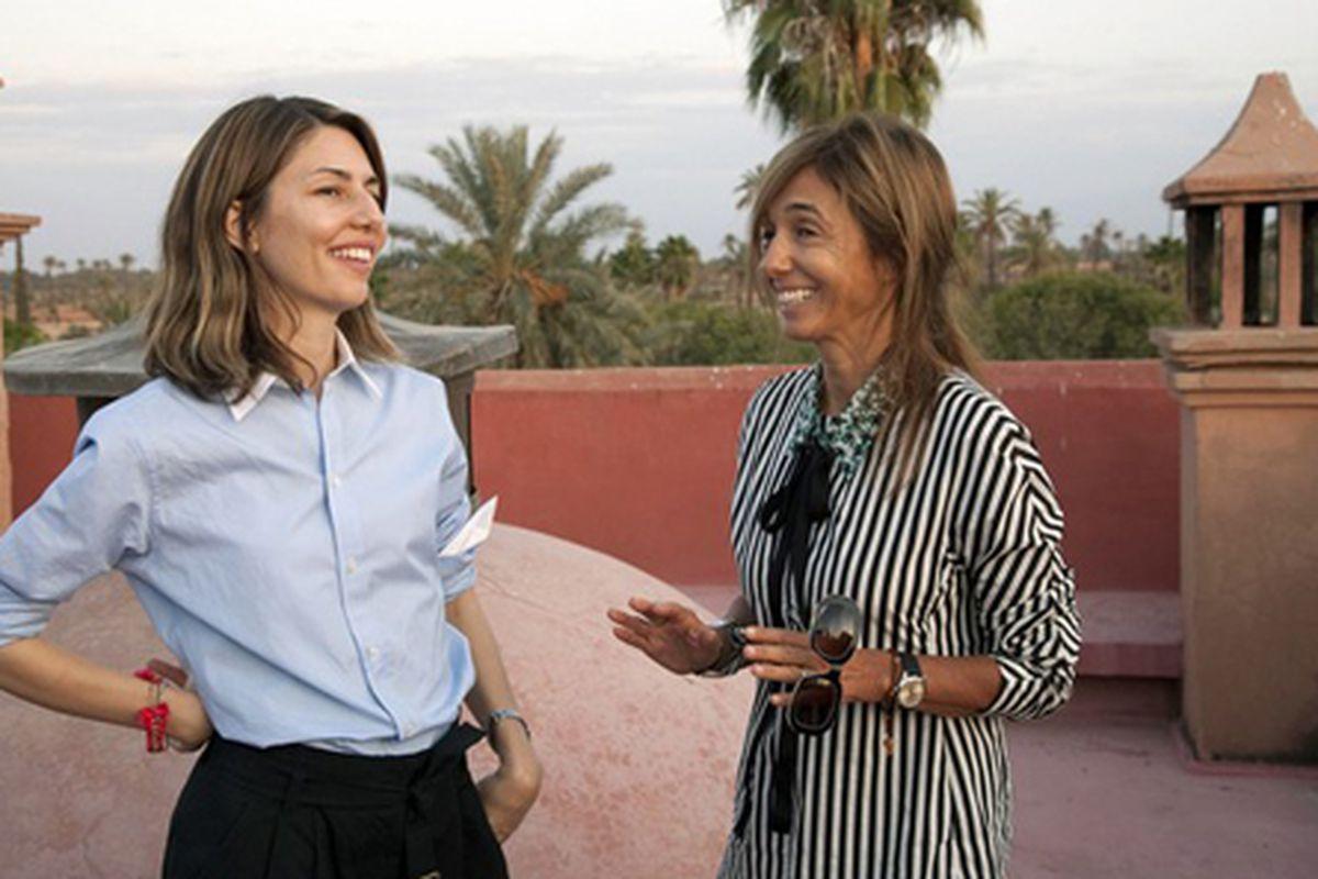 """Sophia Coppola and Marni's Consuelo Castiglioni in Morroco. Does it get any cooler? Photo via <a href=""""http://www.wwd.com/media-news/advertising/sofia-coppola-directs-marni-for-hm-campaign-5429979"""">WWD</a>."""