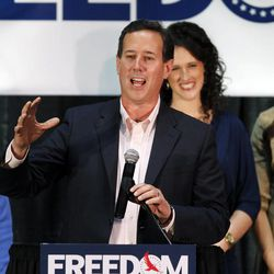 Republican presidential candidate, former Pennsylvania Sen. Rick Santorum, speaks at his primary election night rally in Gettysburg, Pa., Tuesday, March 20, 2012. (AP Photo/Charles Dharapak)