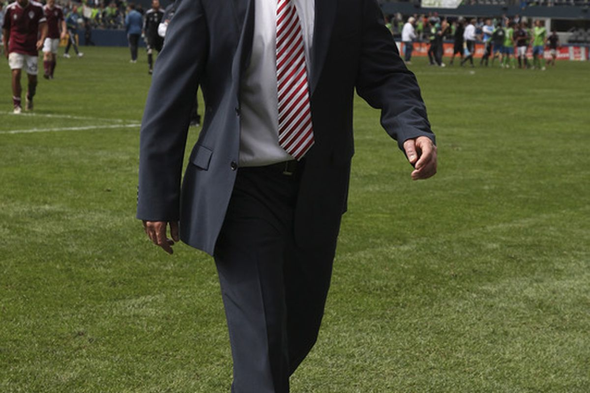 SEATTLE - JULY 16:  Head Coach Gary Smith of the Colorado Rapids walks off the pitch after being defeated by the Seattle Sounders FC at CenturyLink Field on July 16, 2011 in Seattle, Washington. (Photo by Otto Greule Jr/Getty Images)