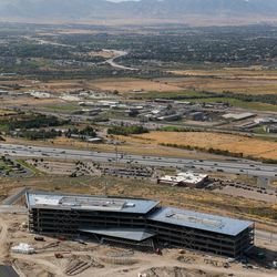 Work continues on technology company Pluralsight's new headquarters in Draper on Tuesday, Sept. 17, 2019.