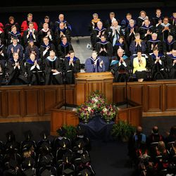 The Marriott Center was packed for BYU Spring 2014 Commencement exercises in Provo Thursday, April 24, 2014.