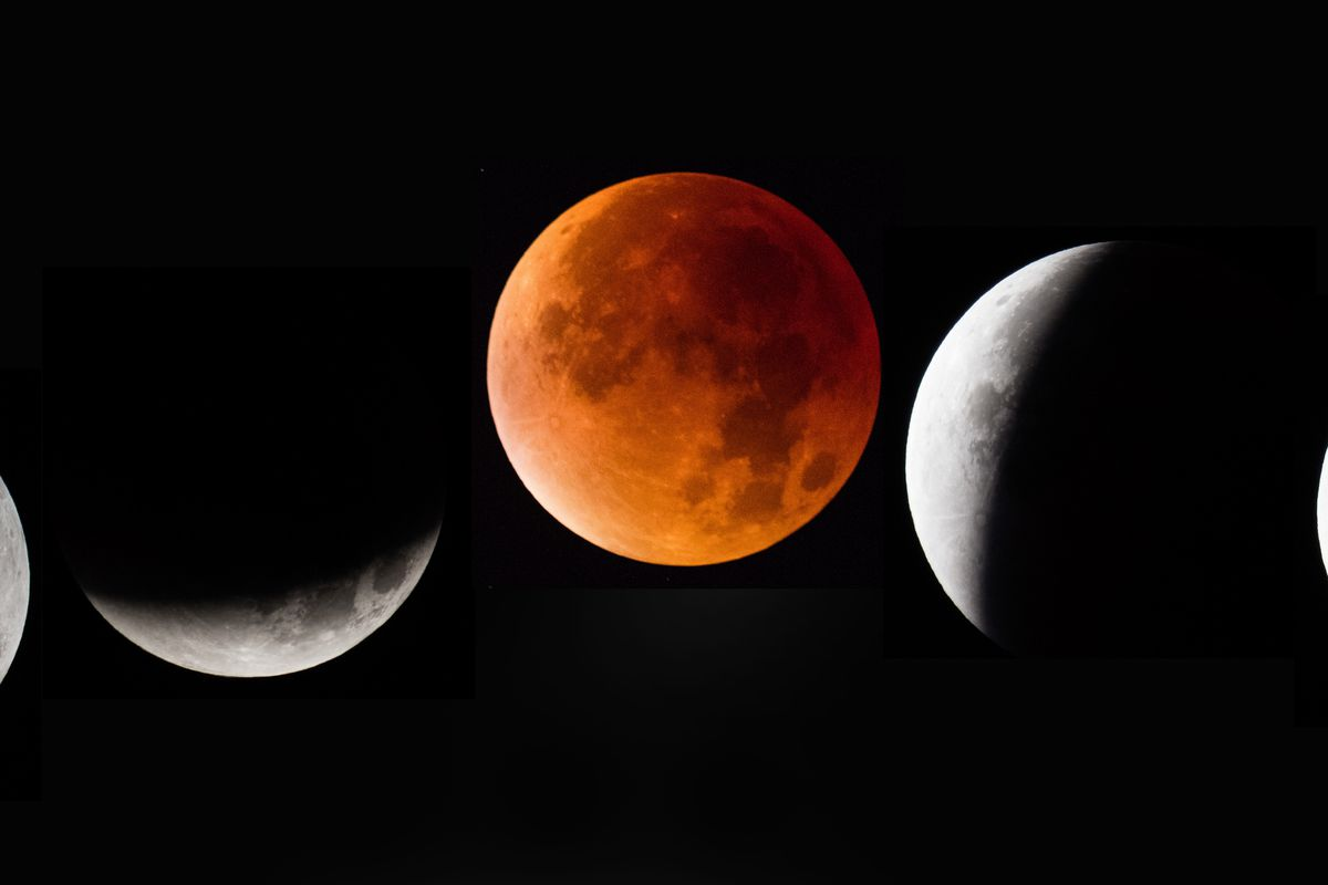 In this composite image, the moon is seen as it enters and leaves a lunar  eclipse on September 28, 2015, in Glastonbury, England. Matt Cardy/Getty  Images
