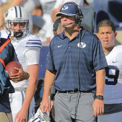 Brigham Young head coach Bronco Mendenhall watches as the clock ticks down in the fourth quarter of play as BYU and Virginia to play Saturday, Sept. 20, 2014, at LaVell Edwards Stadium in Provo. BYU won 41-33.
