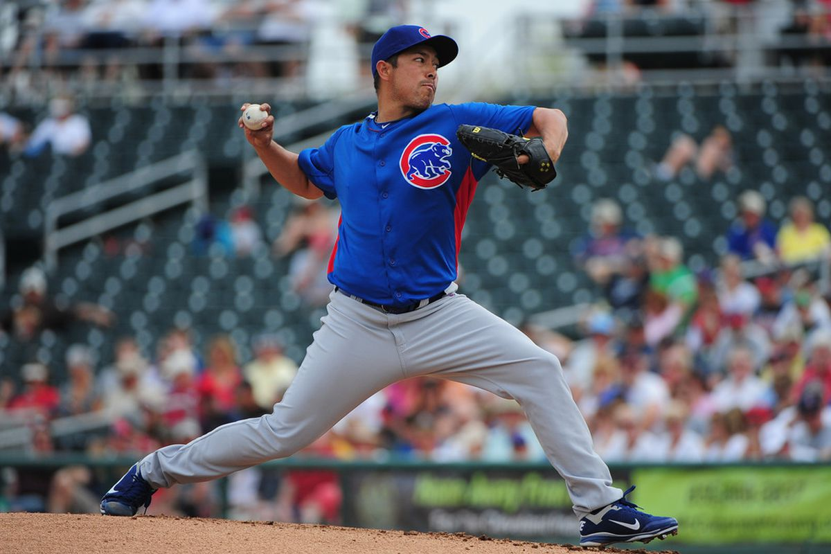 Goodyear, AZ, USA; Chicago Cubs starting pitcher Rodrigo Lopez delivers a pitch during the first inning against the Cleveland Indians at Goodyear Ballpark. Credit: Kyle Terada-US PRESSWIRE
