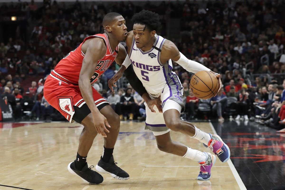 Bulls guard Kris Dunn (defending Sacramento Kings guard De'Aaron Fox) has missed 10 games with a knee injury. The Bulls have lost nine of them.