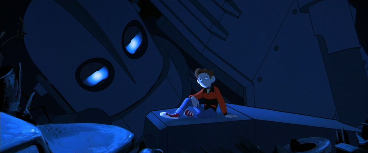 the iron giant - giant and hogarth at night