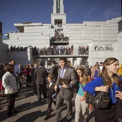 The crowd exits the Conference Center following the Saturday afternoon session of the 183rd Semiannual General Conference for the Church of Jesus Christ of Latter-day Saints Saturday, Oct. 5, 2013 inside the Conference Center.