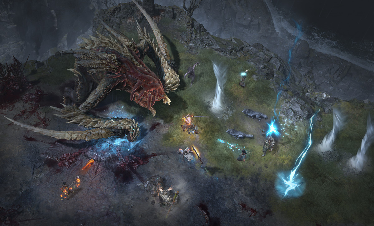 Many Diablo 4 players fight a huge boss somewhere in the game's open world