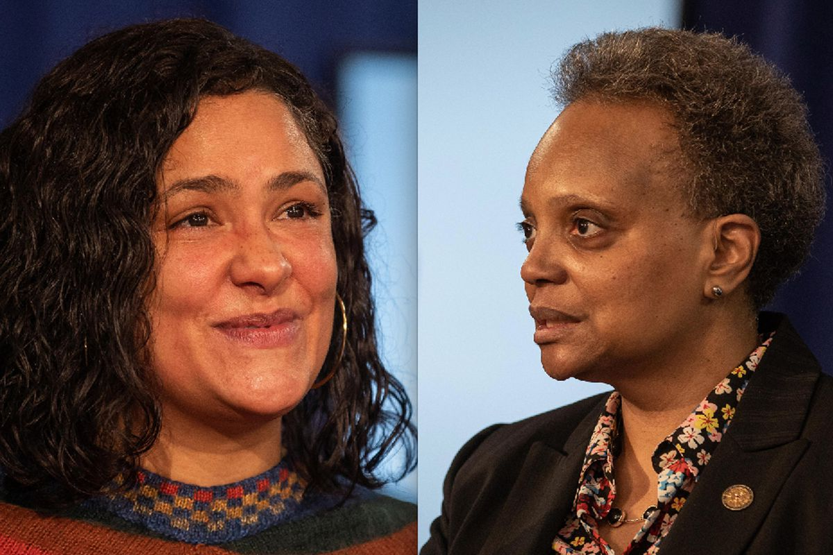 After an under-her-breath comment by Mayor Lori Lightfoot as Ald. Rossana Rodriguez Sanchez (left) was concluding her remarks at Wednesday's City Council meeting, Lightfoot reached out to Sanchez to let her know the remark was not directed at her.