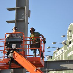 Steelworkers in right field -