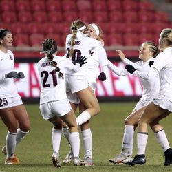 Morgan reacts to winning the 3A girls soccer championship game against Manti at Rio Tinto Stadium in Sandy on Monday, Oct. 26, 2020. Morgan won 3-1.