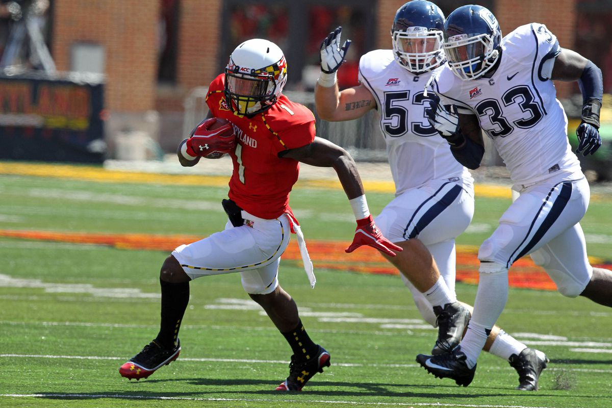 September 15, 2012; College Park, MD, USA; Maryland Terrapins wide receiver Stefon Diggs (1) makes a break for daylight against UCONN. Mandatory Credit: Mitch Stringer-US PRESSWIRE