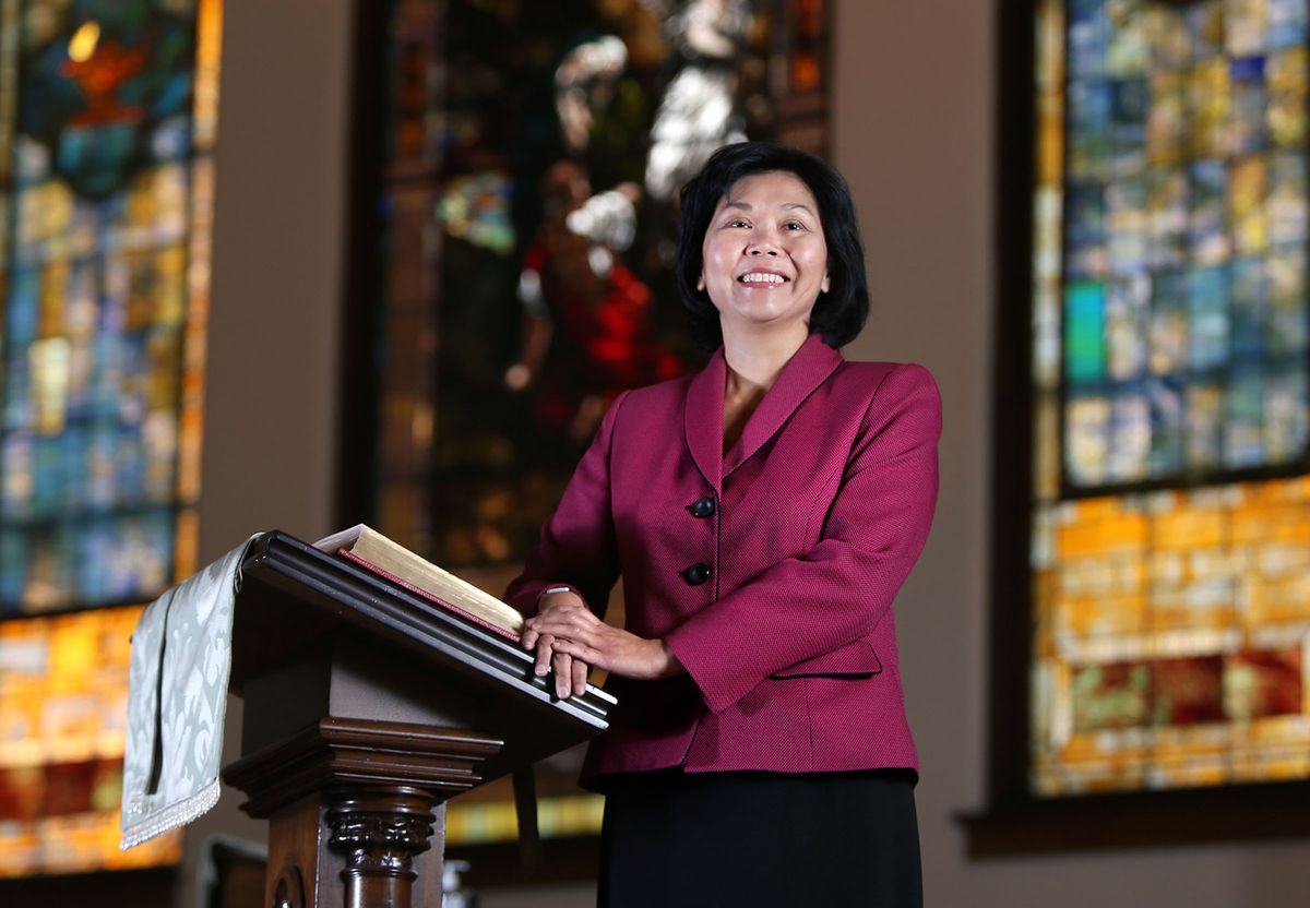 The Rev. Elizabeth Tay McVicker, the first woman to lead First United Methodist Church, poses for a portrait at the church in Salt Lake City on Wednesday, Nov. 2, 2016.