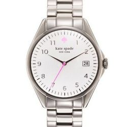 """Seaport Grand in stainless steel, <a href=""""http://www.katespade.com/seaport-grand/1YRU0029,default,pd.html?dwvar_1YRU0029_color=022&start=29&cgid=watches"""">$195</a>."""