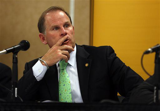 University of Missouri President Tim Wolfe at a news conference in Rolla, Missouri in April 2014. On Saturday, football players announced they will not participate in team activities until Wolfe is removed from office. | Jeff Roberson/AP file photo